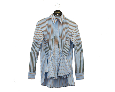 Carven Gathered Button-Front Cotton Shirt - Blue Striped