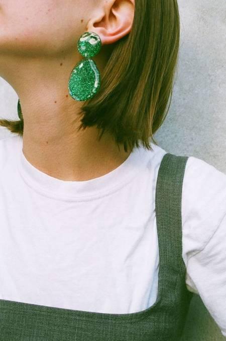 Mars Glitter Double Drop Earrings - Green Glitter
