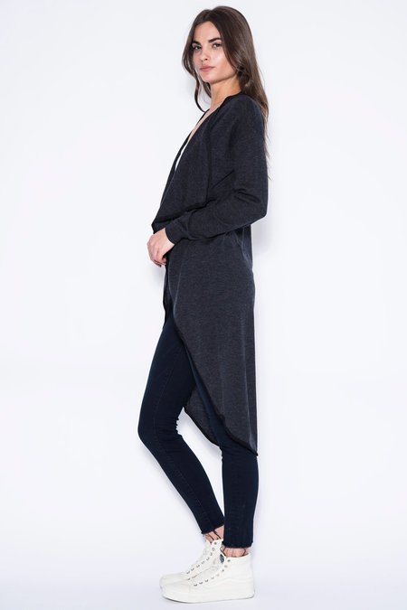 One Grey Day Liv Waterfall Cardigan- Charcoal