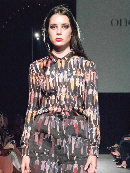 "One Imaginary Girl ""Pochois"" Silk Blouse - Fashion Sketch Print"