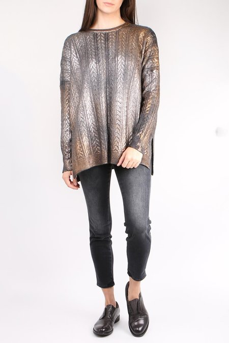 Avant Toi Metallic Cable Pullover - Gold