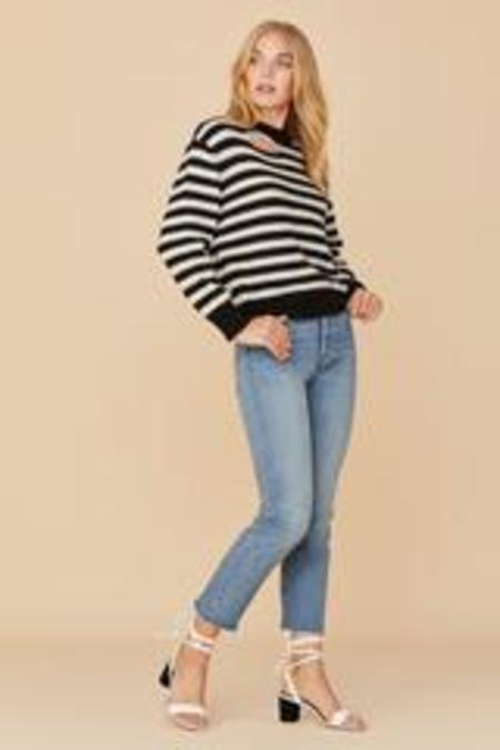 LNA Malone Alpaca Sweater - Black/Ecru Stripe
