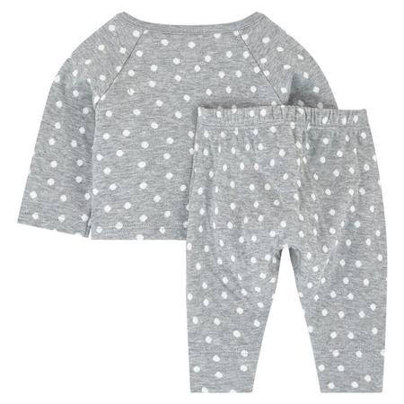 KIDS Petit Bateau Baby 2 Piece Set Long Sleeved Shirt With Kimono Close And Leggings - Grey And White Dots