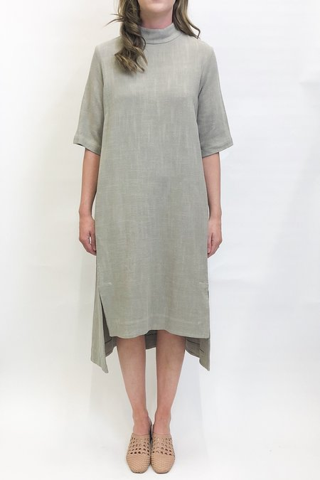 7115 by Szeki Mock Neck Square Hem Dress - Sand