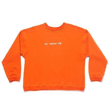 S.K. Manor Hill Reversible Pile Crewneck Sweatshirt - Orange