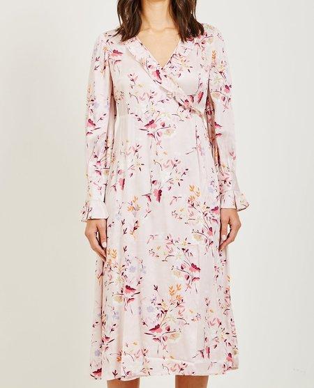 byTiMo SATIN WRAP DRESS - FLORAL PINK