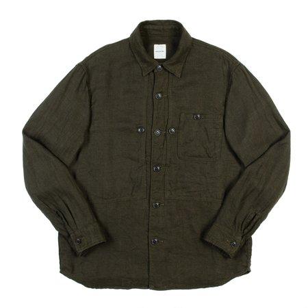 Sage de Cret Linen Wool Overshirt - Khaki