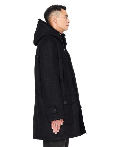 Yves Salomon Hooded Shearling Coat - Black