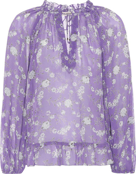Ulla Johnson lilac silk tie blouse