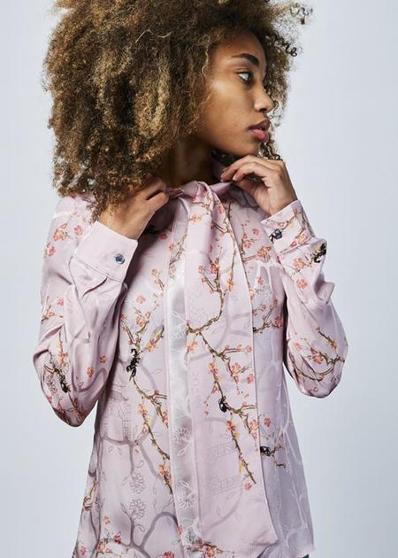Roi du Lac Almond Tree Bow Blouse - Pink