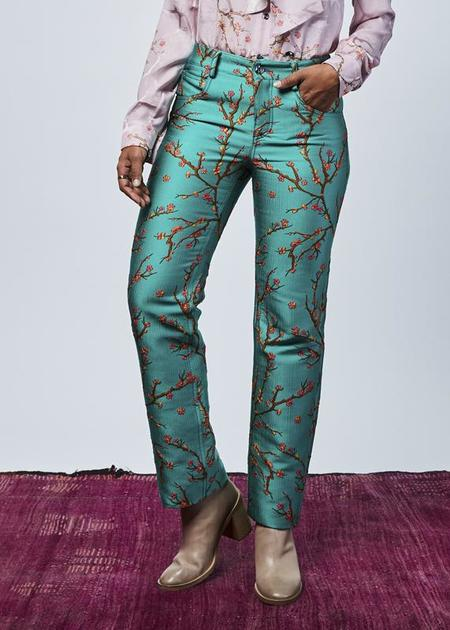 Roi du Lac Almond Tree Silk Jacquard Trouser - Turquoise