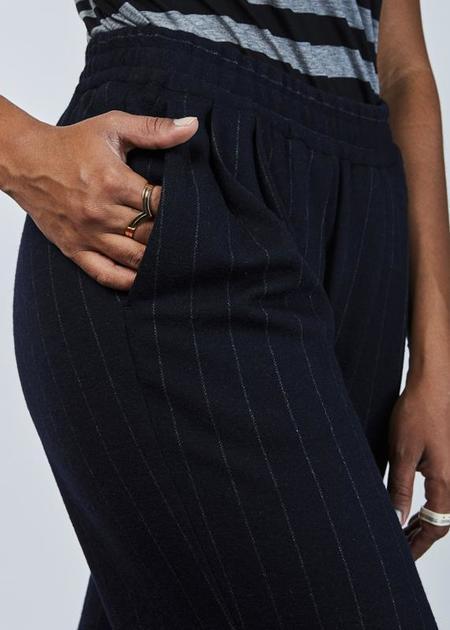 Odeeh Pinstripe Wool Easy Pant - Navy