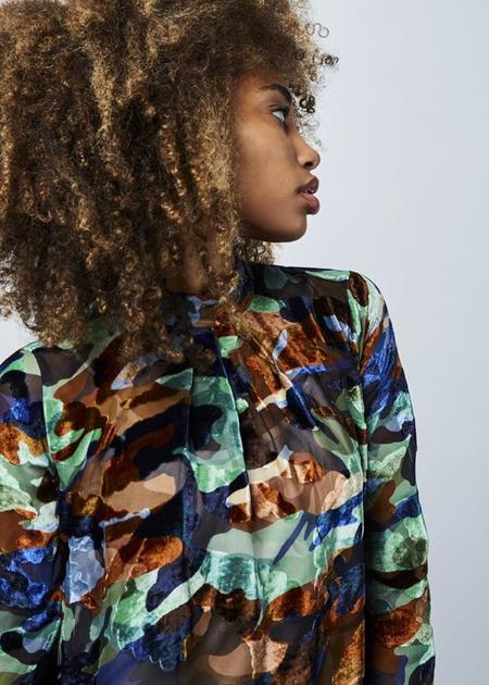 Odeeh Sheer Velvet Dress with Slip - Camo/Multi