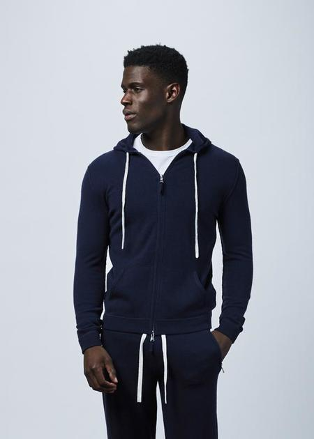 Allude Wool and Cashmere Blend Hoodie - Navy
