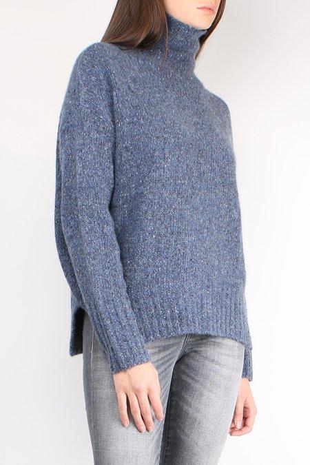 Allude Speckle Knit Turtleneck  - Blue Melange
