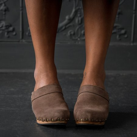 Lisa B. High Heel Suede Clogs - Mushroom
