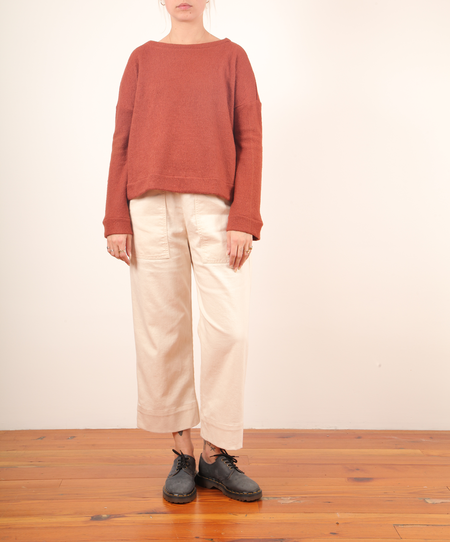 Hackwith Cropped Crewneck Sweater - Brick