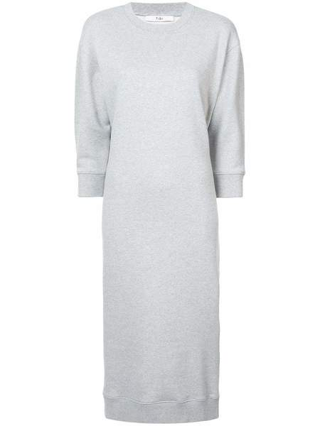 Tibi Easy HG Sweatshirt Openback Sweatshirt Dress - Heather Grey