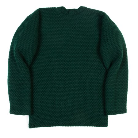Tender Mirror Panel Double Pullover - Bottle Green Lambswool