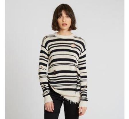 Autumn Cashmere Distressed Striped Sweater - Natural/Navy