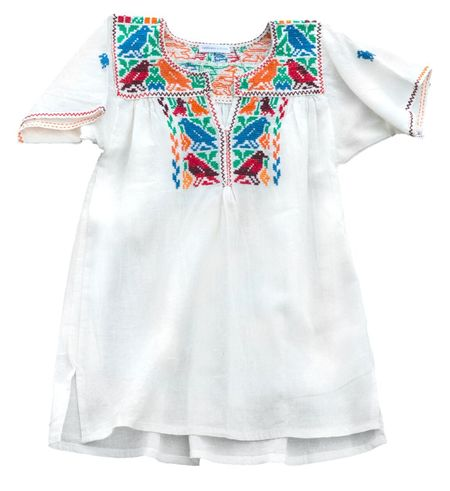 Kids Cabbages and Kings Handmade Embroidered Scoop Neck Blouse/Dress