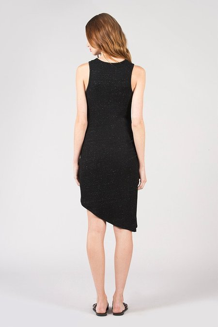David Lerner Asymmetrical Ruched Dress - Black