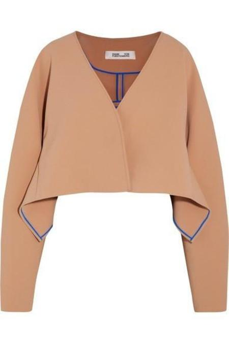 DVF Cropped Button Up Jacket - Camel