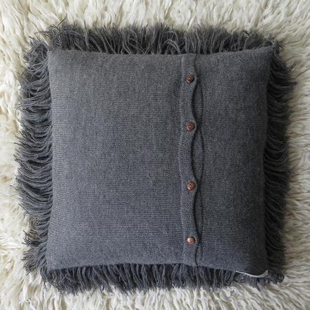Erica Tanov Alpaca Shag Pillow - Grey