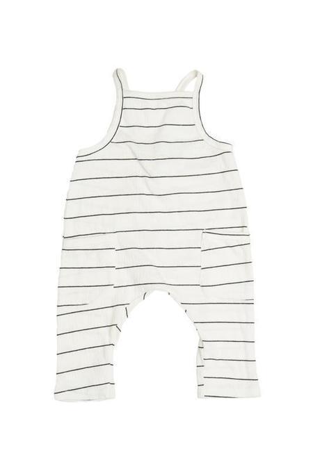 Kids Joah Love Peyton Unisex Gauze Stripe Overalls - Ivory
