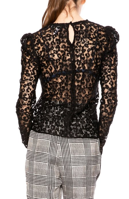 fleur du mal Leopard Lace Puff Sleeve Blouse - Black Luxe