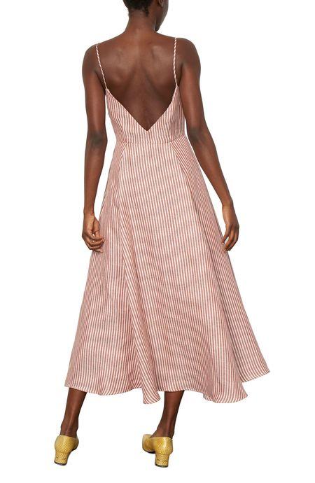 Mara Hoffman Morgan Button Front Dress - White/Brown