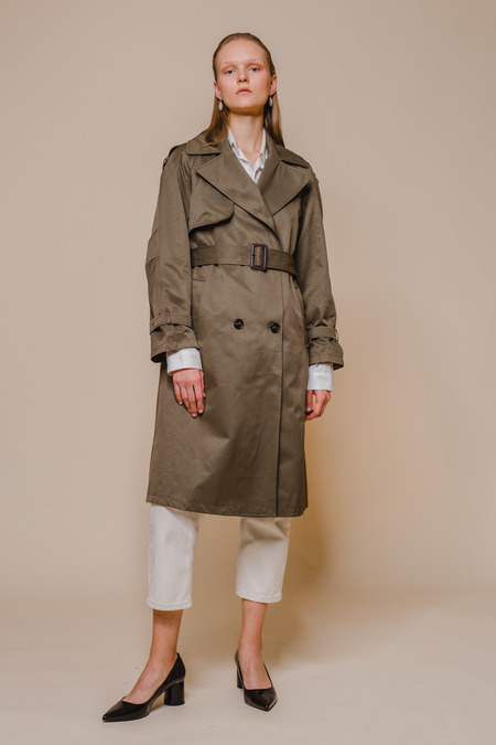 OPUSION Belted Trench Coat - Dark Green