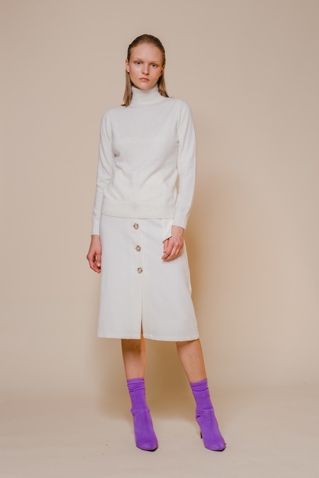 OPUSION Turtleneck Sweater - Pearl White