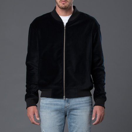 s.k. manor hill Velvet Bomber Jacket - Navy