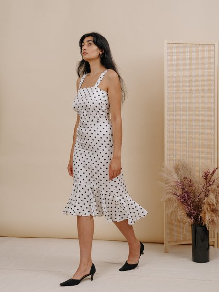 Wolcott : Takemoto Flo Silk Dress - White Polka Dot