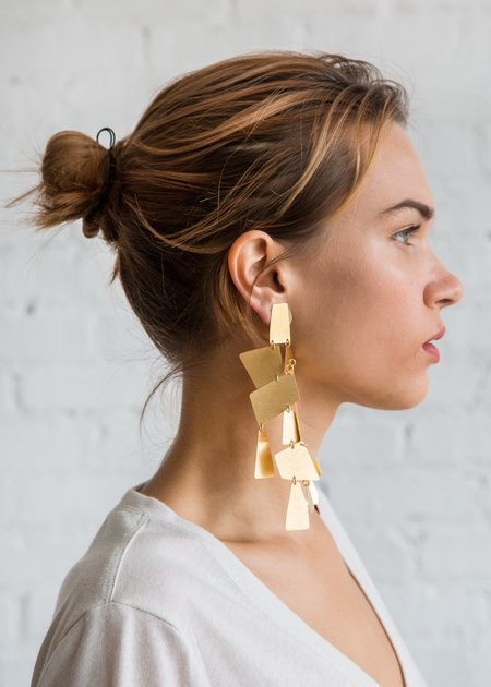 Annie Costello Brown Mika XL Earring - Gold