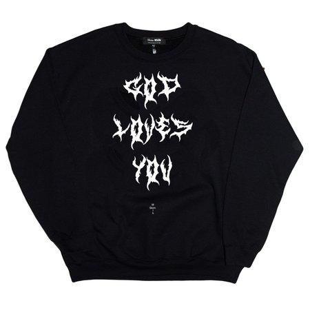 Unisex Skim Milk God Loves You Sweater - Black