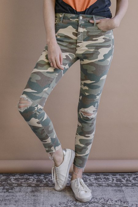 Mother Denim High Waisted Looker Ankle Fray Jeans - See Me in Camo
