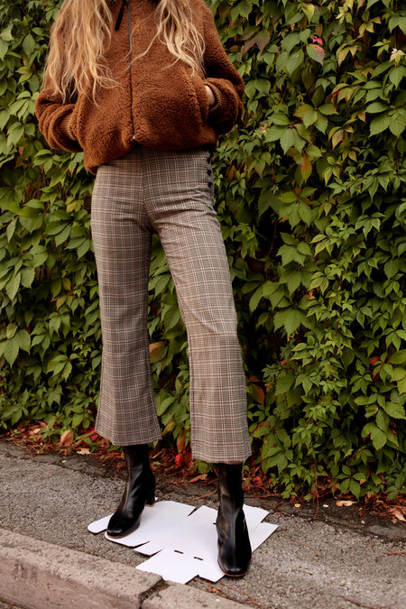Side Party Bye Checked Flare Trousers - Beige Check