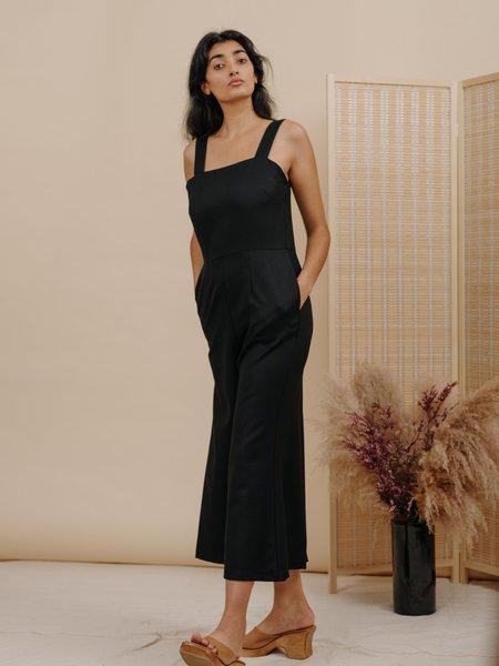 Wolcott : Takemoto Kate Jumpsuit - Black Wool