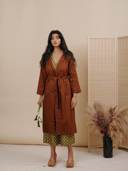 Wolcott : Takemoto New Norma Jacket - Brown Cotton