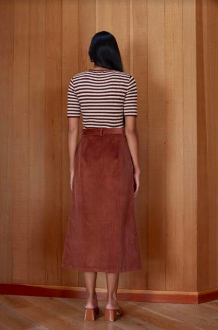 First Rite Button Corduroy Skirt - Sienna