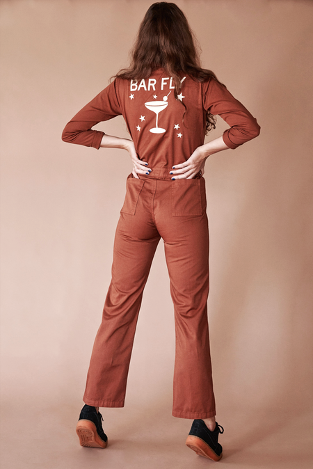SUGARHIGH LOVESTONED BAR FLY COVERALL - Terracotta