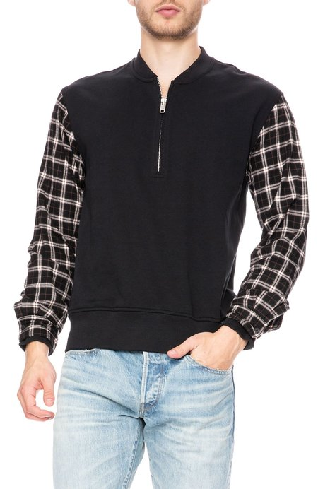 3.1 Phillip Lim Contrast Flannel Henley -  Sof Black