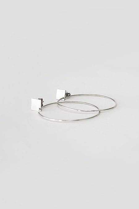 BUNNY TALES SQUARE GEOMETRY HOOPS - Silver