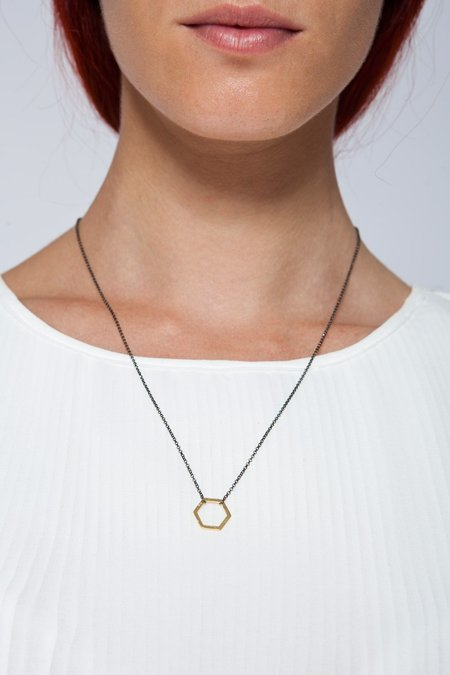 MOUTSATSOS LONG BLACK CHAIN GEOMETRY NECKLACE WITH GOLD MOTIF