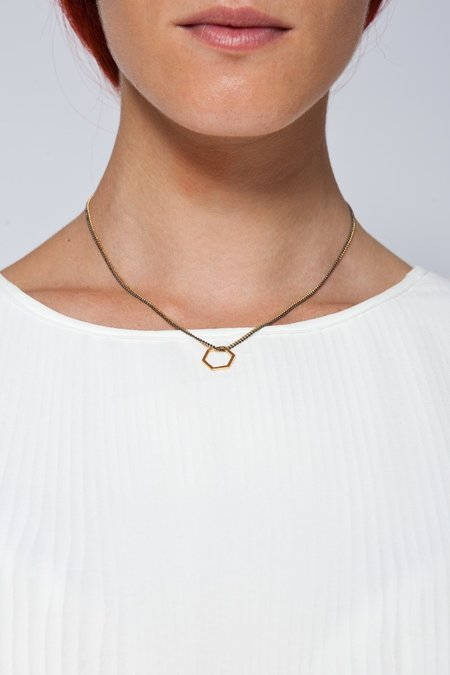 MOUTSATSOS PINK GOLD GEOMETRY DOUBLE CHAIN NECKLACE