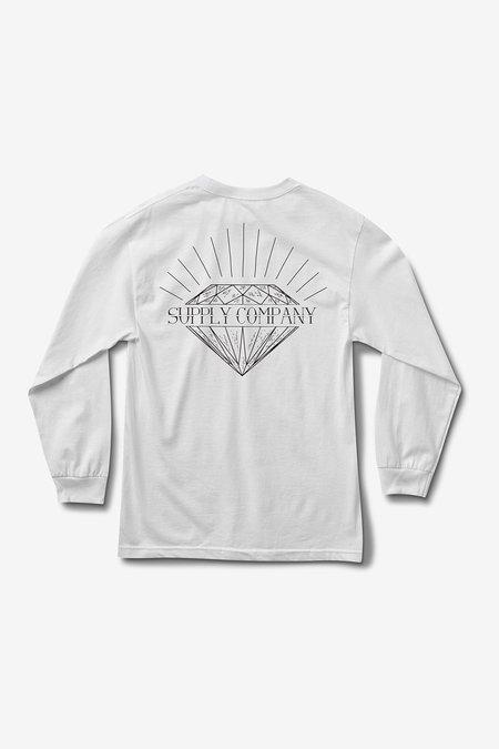 DIAMOND SPLIT LONGSLEEVE T-SHIRT - WHITE