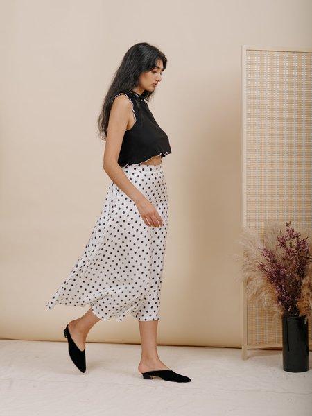 Wolcott : Takemoto Shadow Skirt - White Polka Dot Silk