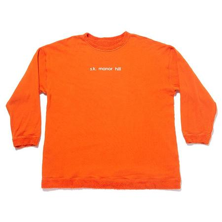 S.K. Manor Hill Oversized Reversible Pile Crewneck Sweatshirt - Orange